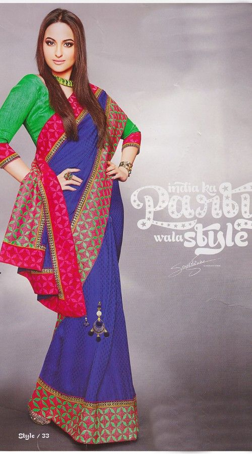 Sonakshi Sinha In Blue Saree RS3310 | Sonakshi Sinha ...