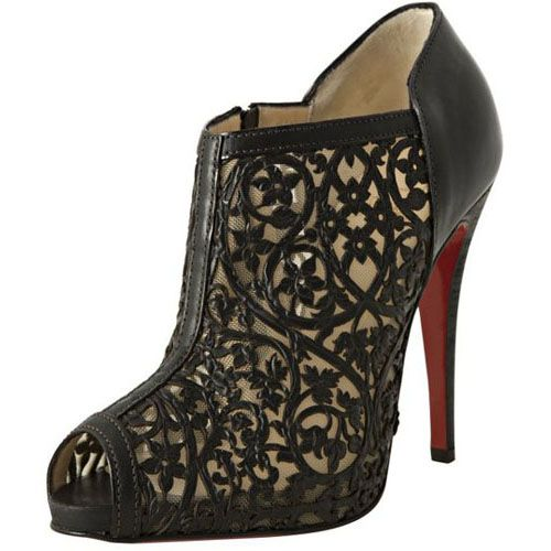 Christian Louboutin Black Laser Cut Leather Pampas 120 Peep Toe Booties
