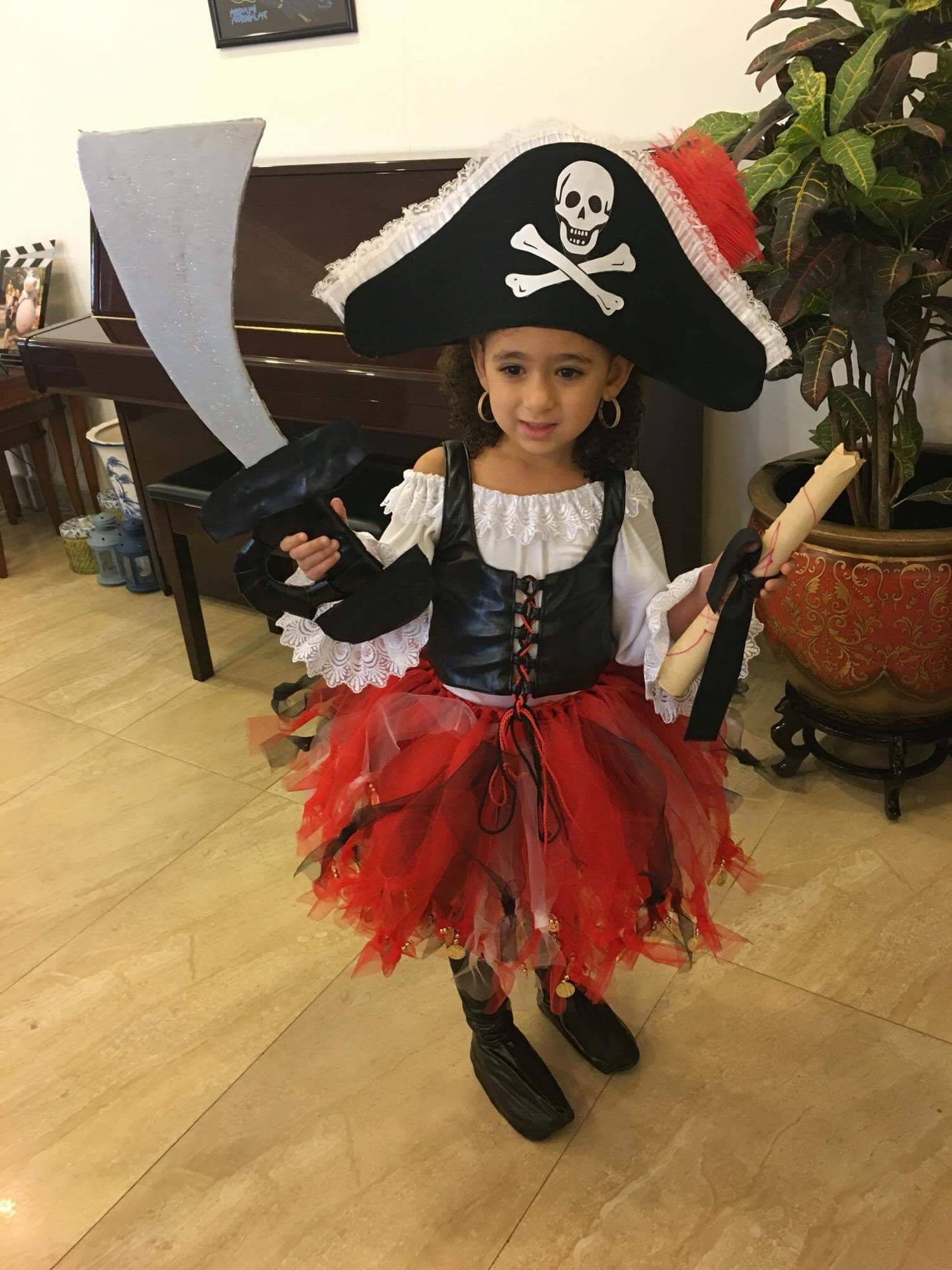 Childens Fancy Dress Pirate Eva Hat Black with skull and crossbones