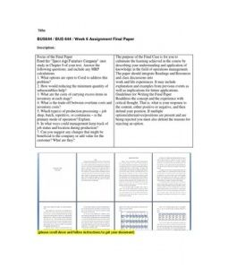 Operations Management Space Age Furniture Company Answers&nbspTerm Paper