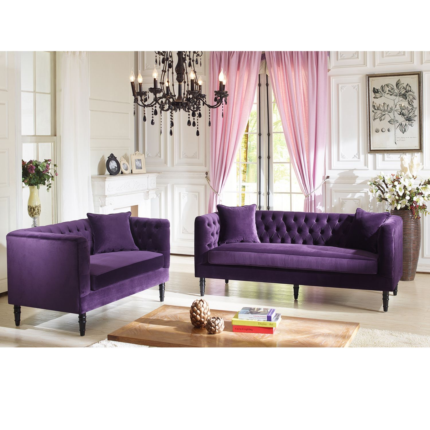 Groovy Baxton Studio Flynn French Inspired Purple Velvet Gmtry Best Dining Table And Chair Ideas Images Gmtryco