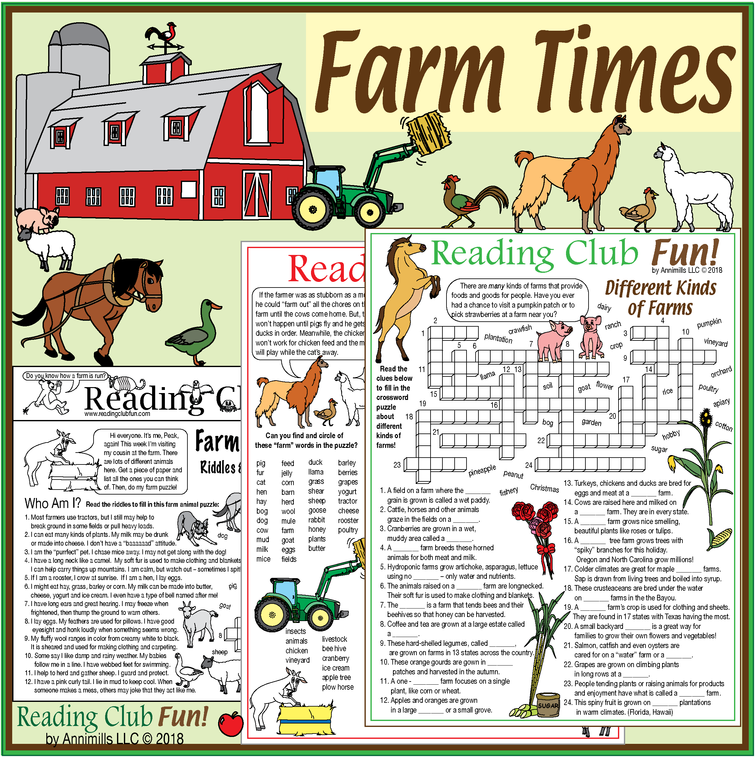 Farm Times Pack Farms Crops Animals Puzzles And