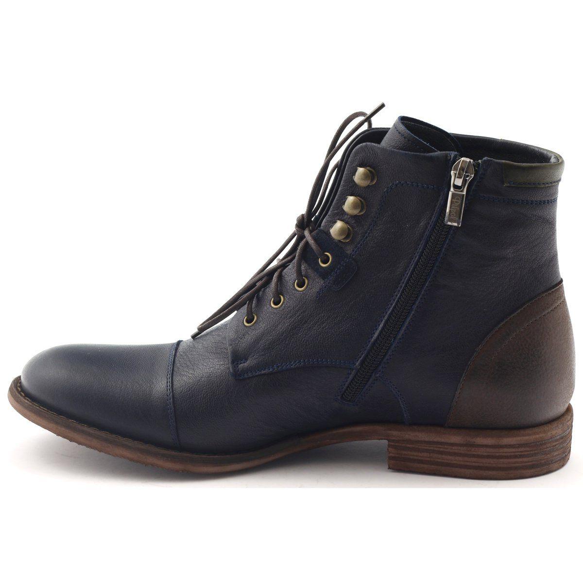 Botki Meskie Zimowe Pilpol C831 Granatowe Brazowe Shoes Boots Combat Boots