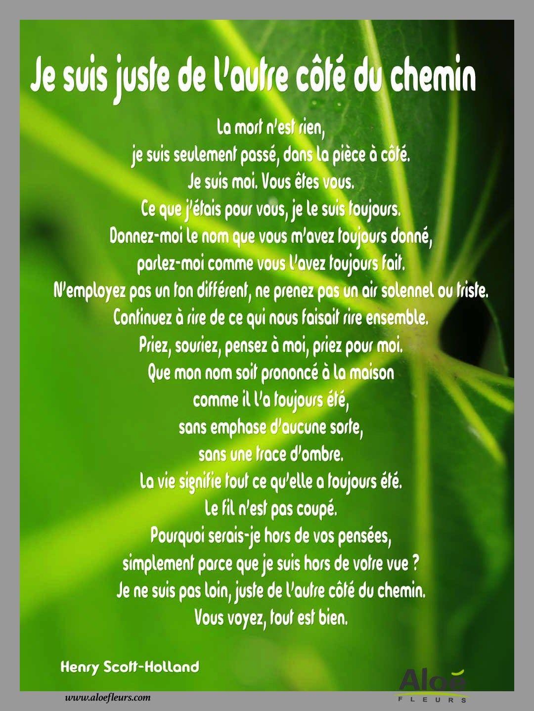 """Bien-aimé Je Suis Juste De L'autre Côté Du Chemin"""" – Henry Scott Holland  GG22"""
