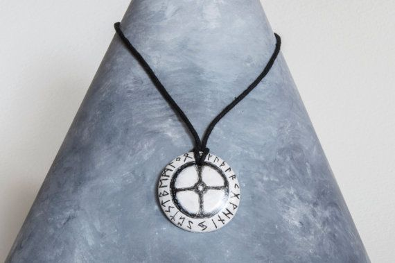 Sun cross pendant necklace with runic magic circle viking solar sun cross pendant necklace with runic magic by thewayfairyer aloadofball
