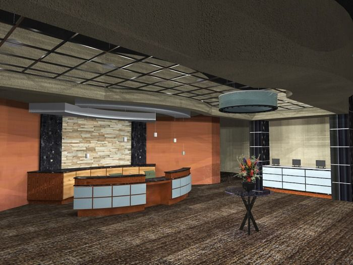 Hotel lobby rendering.  For this project, we collaborated with architecture students.