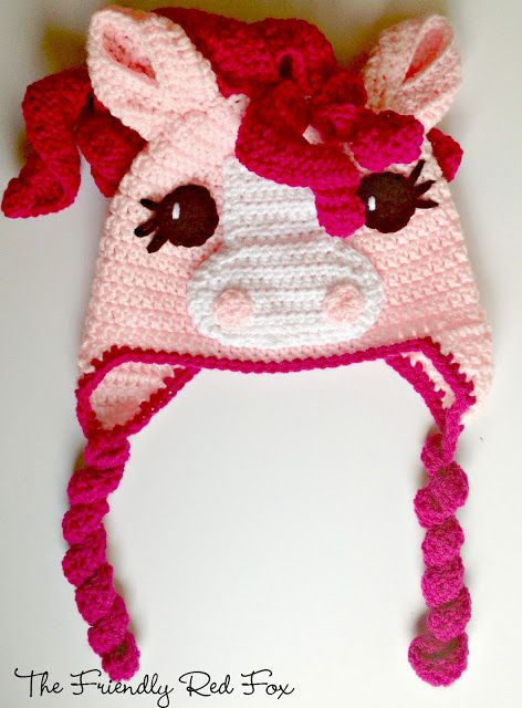 Free Crochet Little Pony Hat - The Friendly Red Fox | Crochet: Hats ...