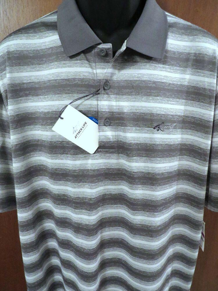 5b545b57 Greg Norman Performance Golf Shirt (2XL) Color-Shark w/Stripes NWT $55.00