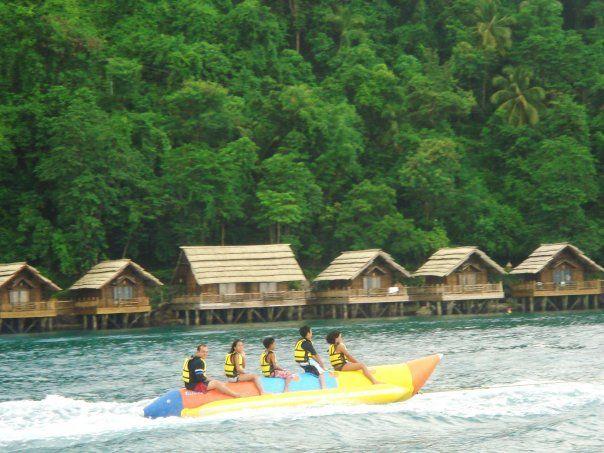 Banana Boat Near Pearl Farm With Images Banana Boats Philippines Beaches