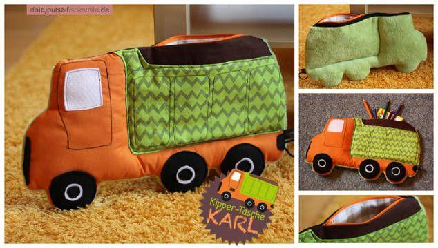 """Von mir gezeichnete, entworfene und erstellte Nähanleitung und Schnittmuster für eine Kipper-Tasche """"Karl""""  Kissen, Tasche, Spielzeug - Kipper """"Karl"""" ist der ideale Begleiter für unterwegs!  In der Reißverschluss-Tasche auf dem Kipper haben Stifte, Papier, kleine Bücher oder Bauklötze genügend Platz. Auch als Sorgen- oder Kummertier kann der Kipper genutzt werden. Mal oder schreib deine Sorgen auf einen Zettel, pack sie in den Schuttberg und weg sind sie! In dem rund 24 x 13 cm großen ..."""