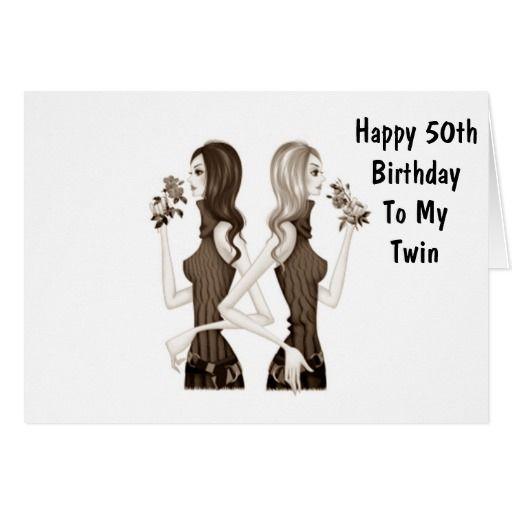 50th Birthday Wishes To My Twin Sister Card Zazzle Com