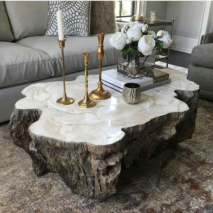 Our Chloe Fossilized Clam Stone Coffee Table #palecek : @highfashionhome