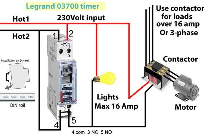 Legrand 03700 timer wiring | Timer, Wire, RelayPinterest