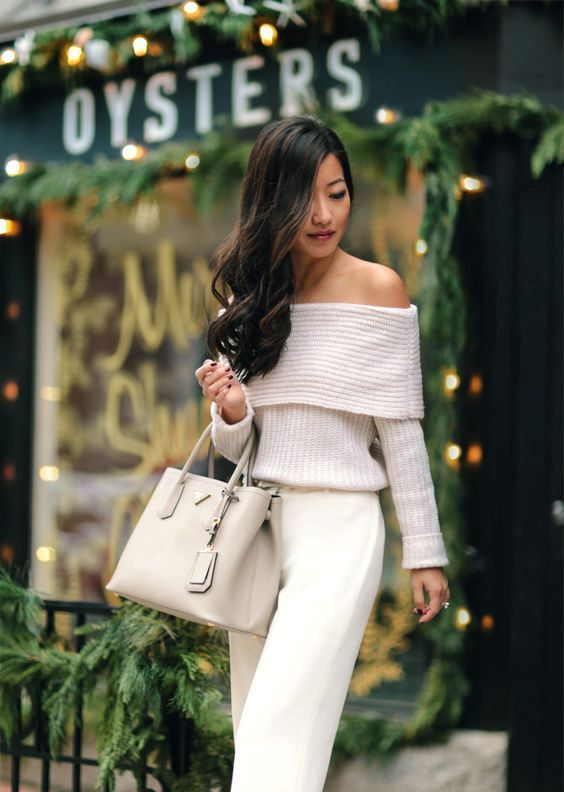 Ivory Off The Shoulder White Pants And A Nude Bag Outfits Style