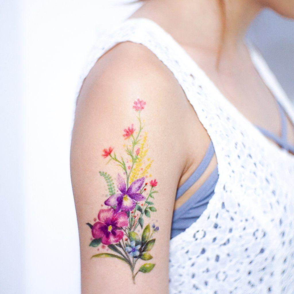 Watercolor bouquet of flower tattoos pinterest tattoos flower