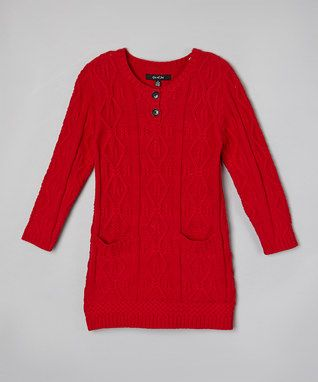 Red Cable Knit Dress - Toddler & Girls