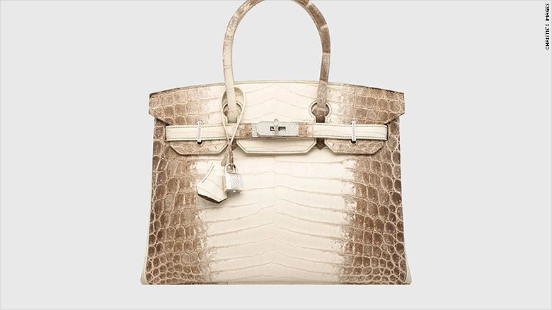 A matte white Himalaya Niloticus crocodile diamond Birkin 30 handbag was sold Wednesday in Hong Kong for over $377,000.