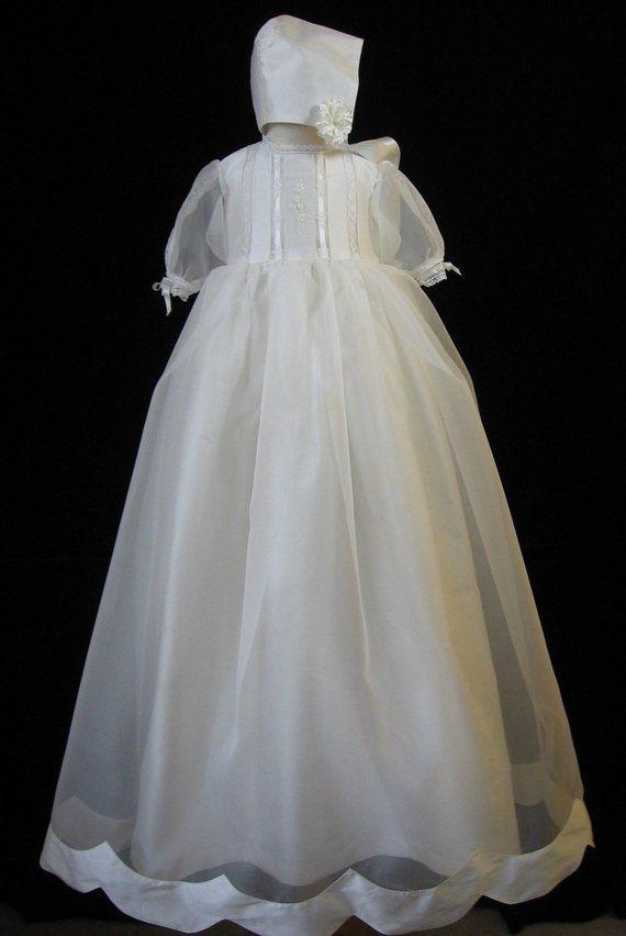 07f082ee9 Silk Shantung / Silk Organza Christening Gown, Baptism Dress & Bonnet -  Grace, by Embroidered Heirlooms