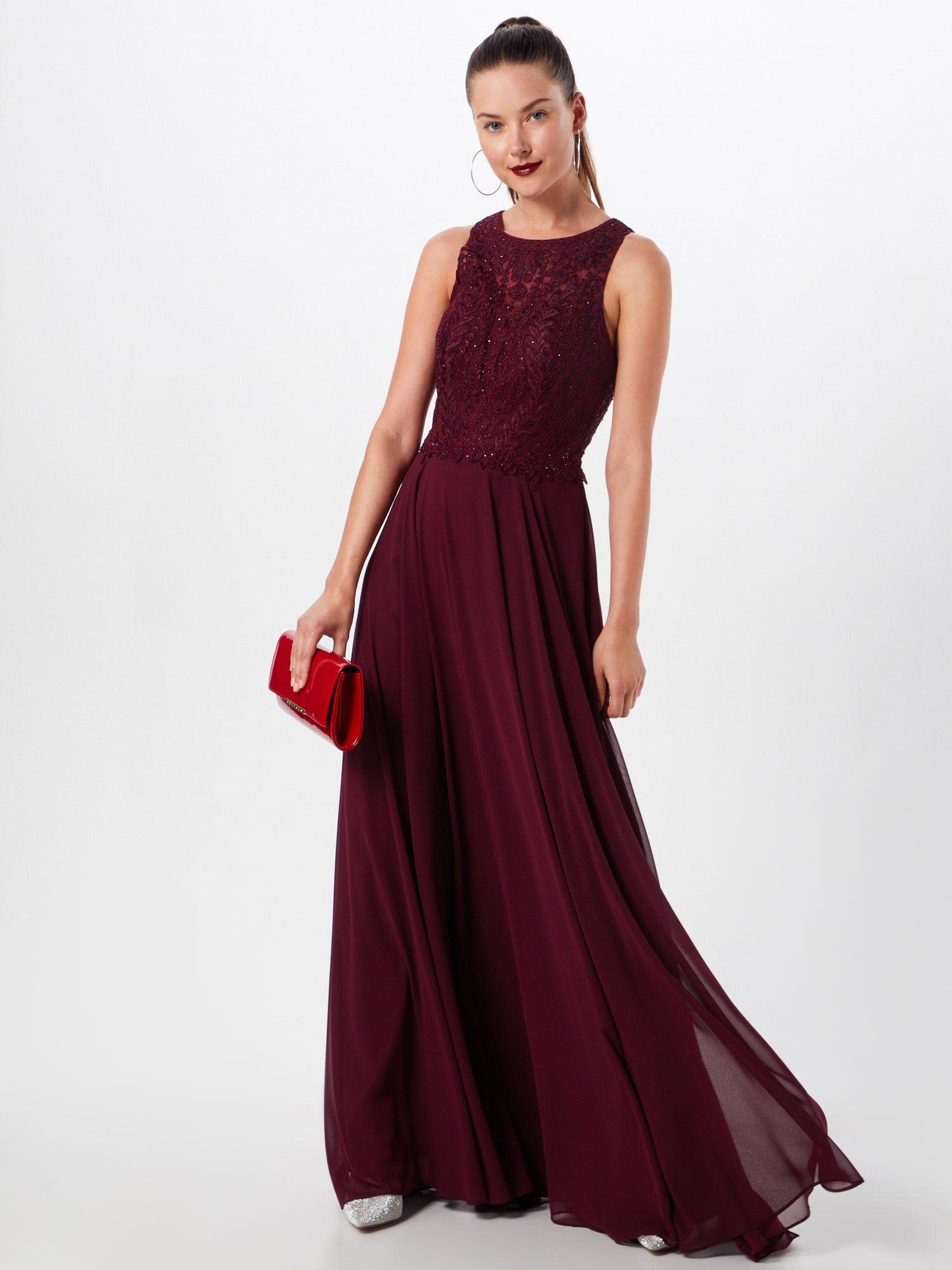 LUXUAR Abendkleid Damen, Bordeaux, Größe 20  Abendkleid