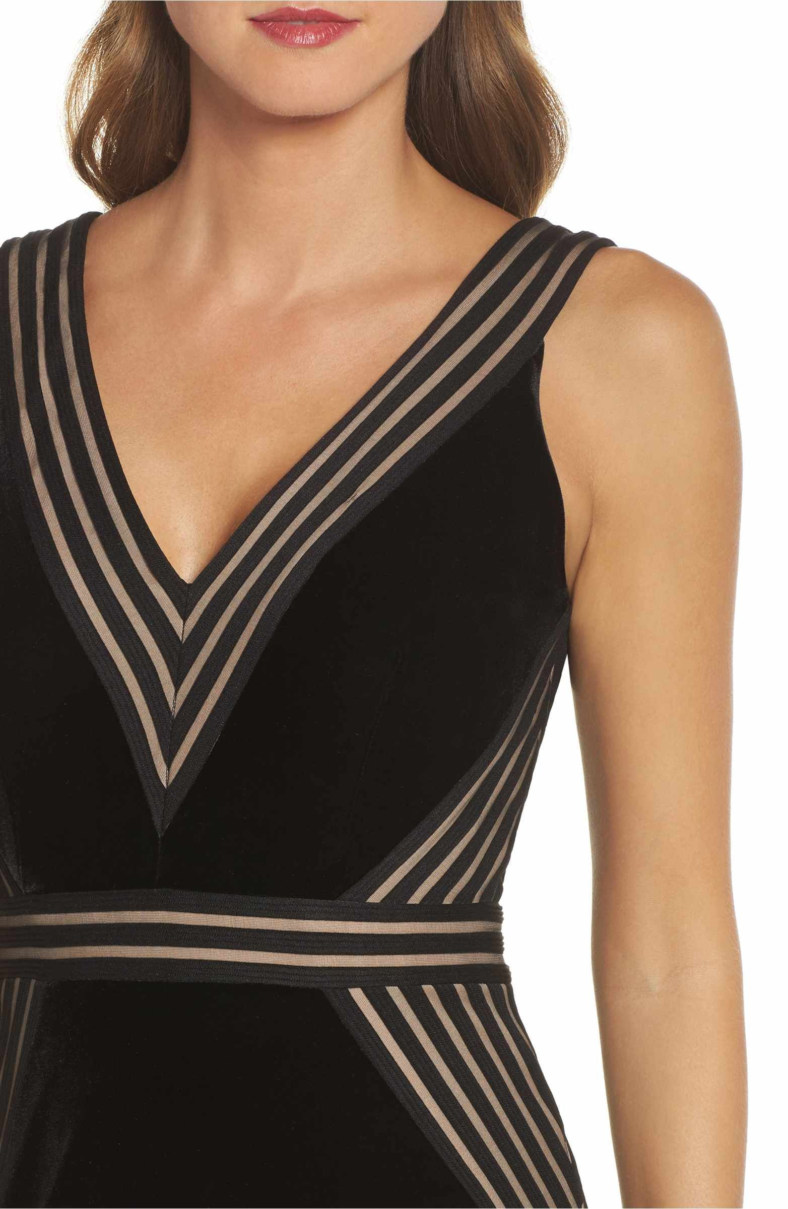 Main image xscape illusion inset velvet trumpet gown dresses