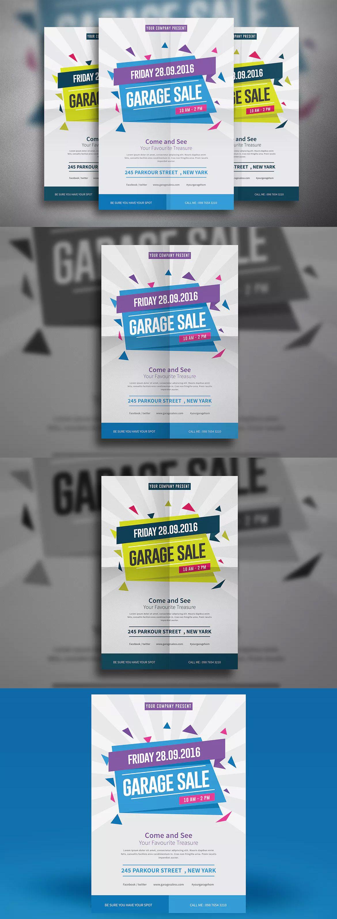 garage sale flyer template ai psd