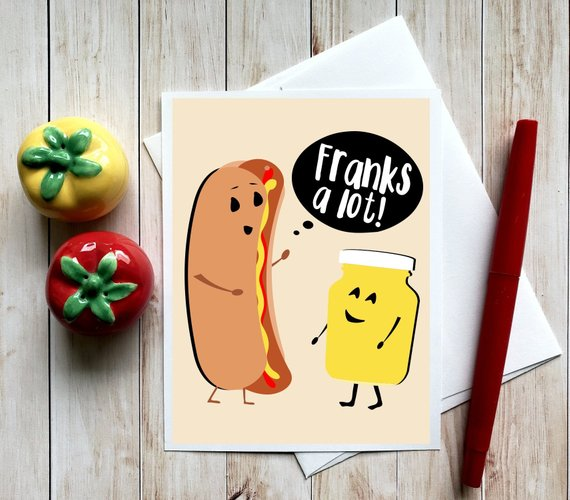 Funny Thank You Notes Pun Cards Food Puns Punny Cards Humorous