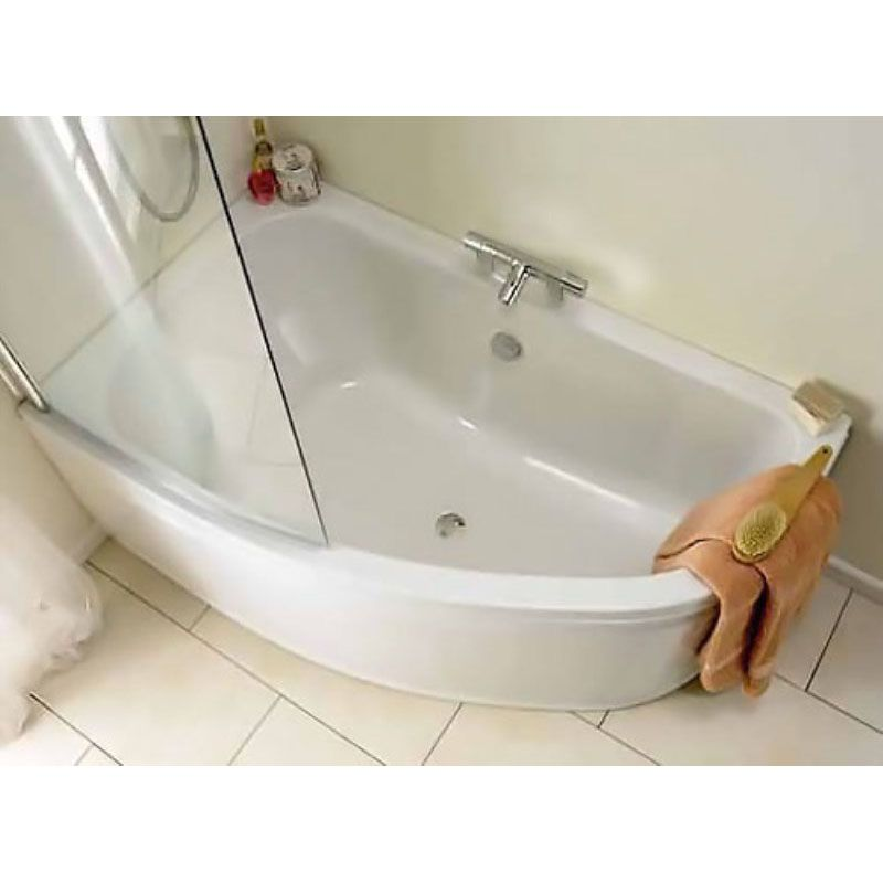 Clia Left Hand Corner Offset Bath with Front Curved Bath Panel and ...