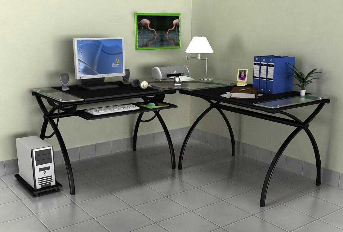 Home Office Glass Top Desks Corner Computer Desk Design And