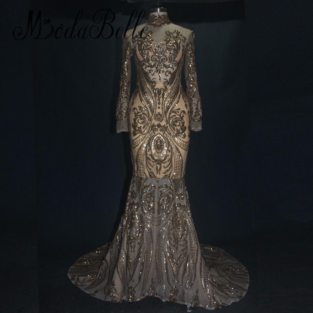 a333a59271b2 Nice 2018 Gold Sequin Evening Dress Long Formal Evening Gown Arabic Prom Dresses  Evening Dresses