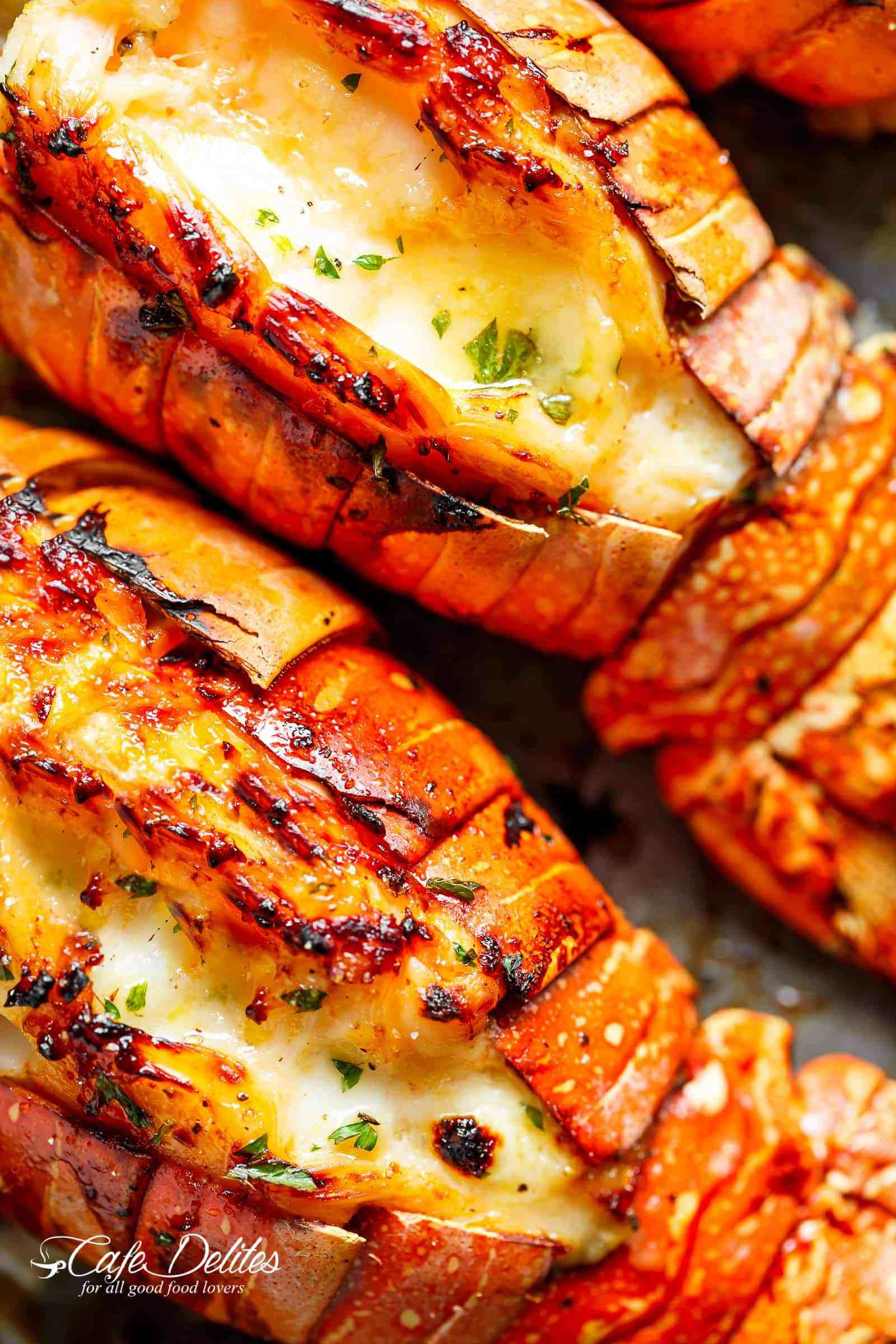 Broiled Lobster Tails With Honey Garlic Butter White Wine Sauce Cafedelites Com Lobster Recipes Tail Lobster Recipes Steak And Lobster Dinner