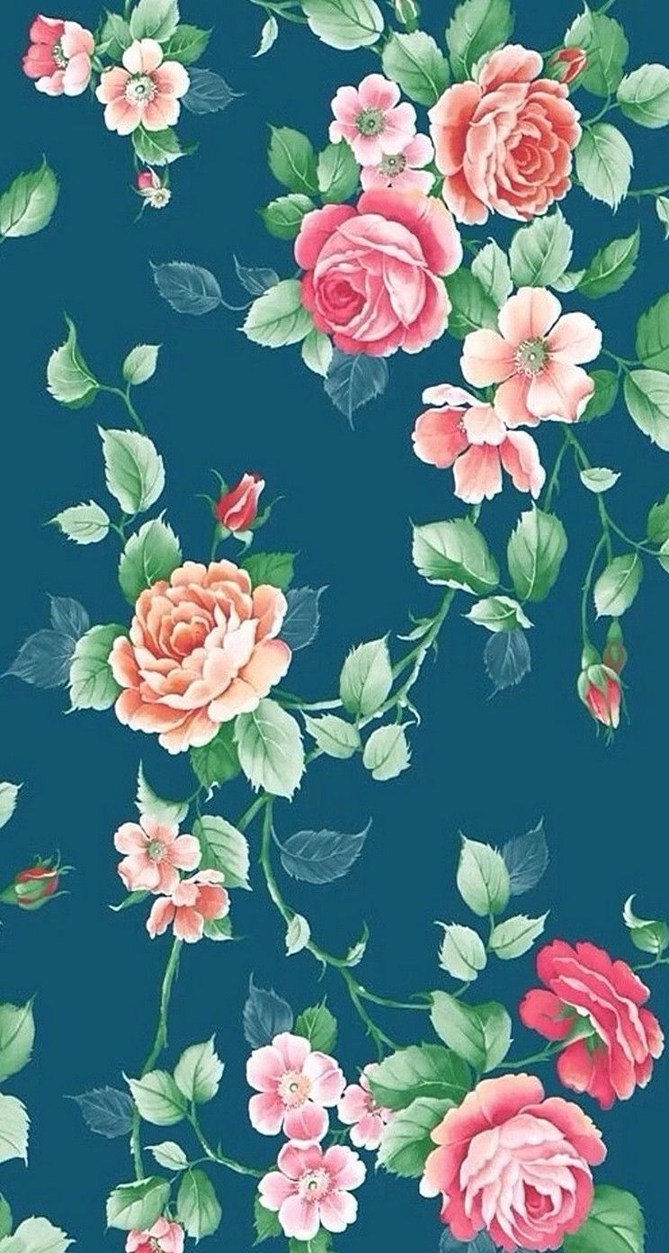 Vintage Flowers. Floral Pattern iPhone Wallpapers mobile9