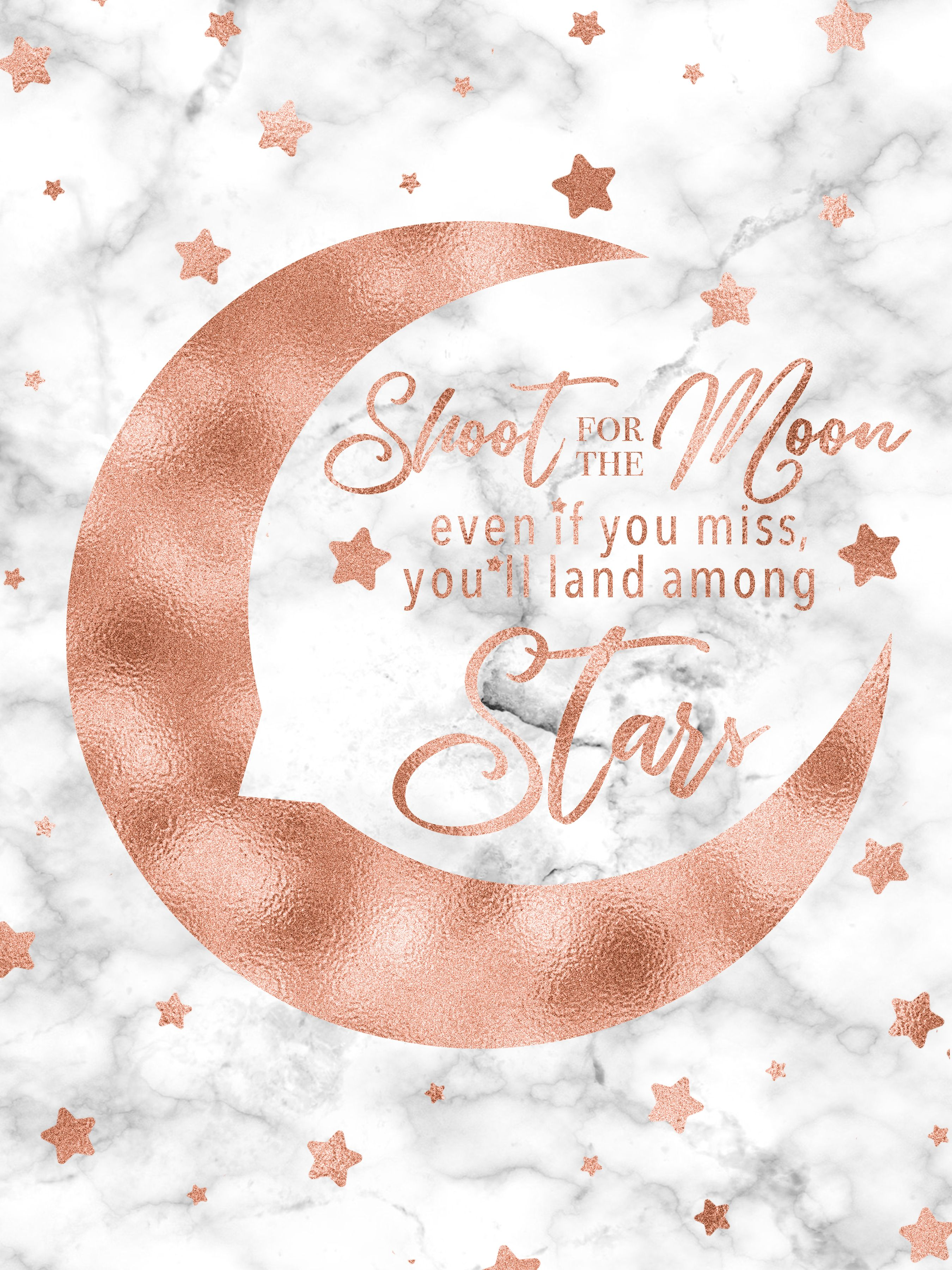 Shoot For The Moon Rose Gold Decor Rose Gold Printable
