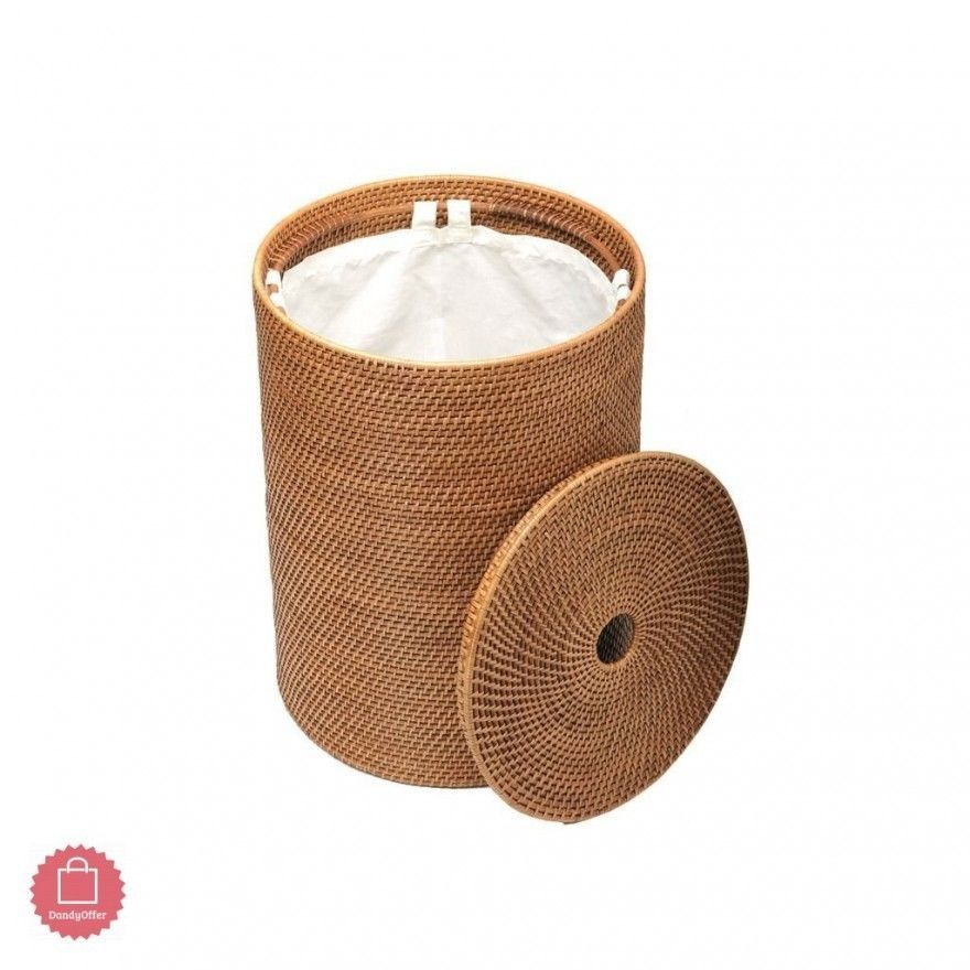 This Round Rattan Hamper Will Keep Laundry Out Of Sight In A