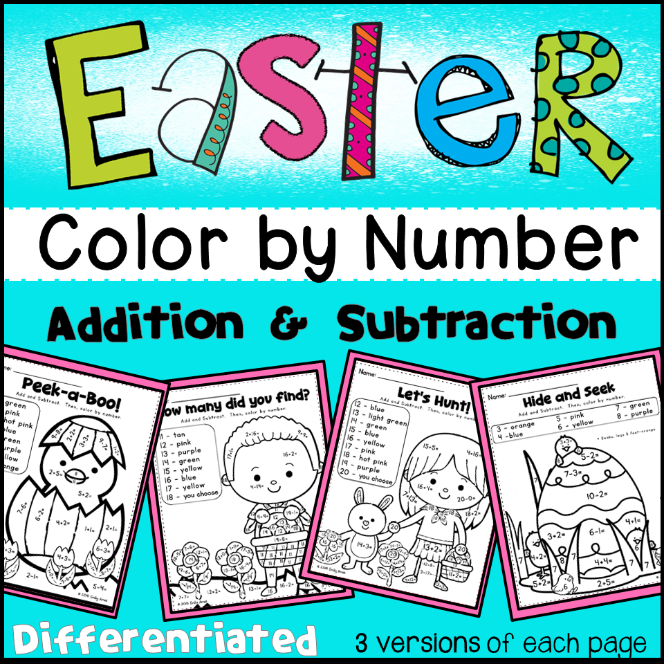Easter Color by Number- Differentiated (Numbers, Add&Subtract 1-10 ...