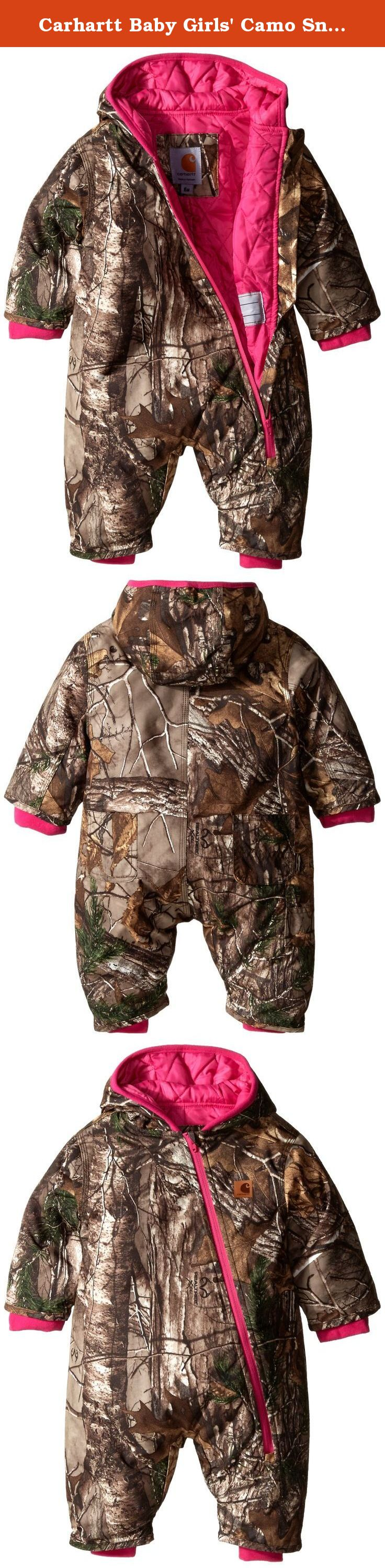 Carhartt Baby Girls' Camo Snowsuit QULT Taff Lined, Dark Brown, 6 Months. Water and wind resistant real tree xtra snowsuit with triple stitched main seams for added durability diagonal full zip and quilted taffeta lining permit easy entry exit.