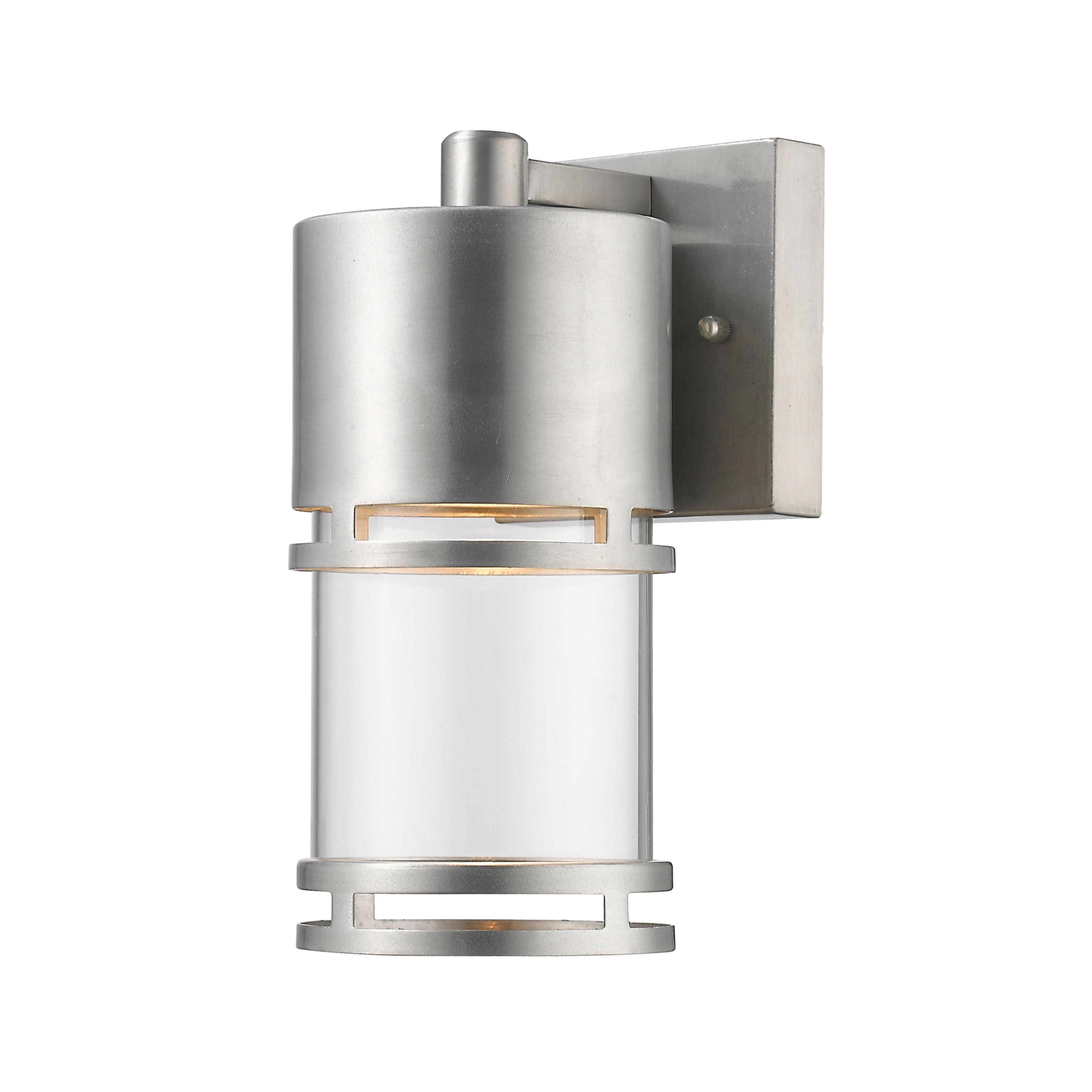Zlite luminata outdoor led wall light in brushed aluminum silver