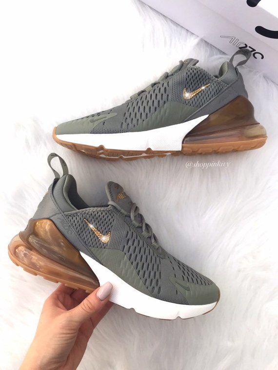 Swarovski Nike Air Max 270 Shoes Blinged Out With Swarovski Crystals Bling Nike Shoes Olive