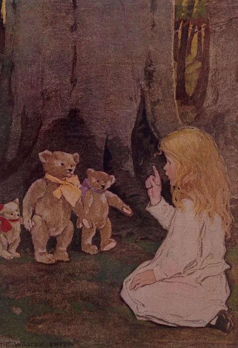 Goldilocks Gives Three Teddy Bears a Talking-To Giclee