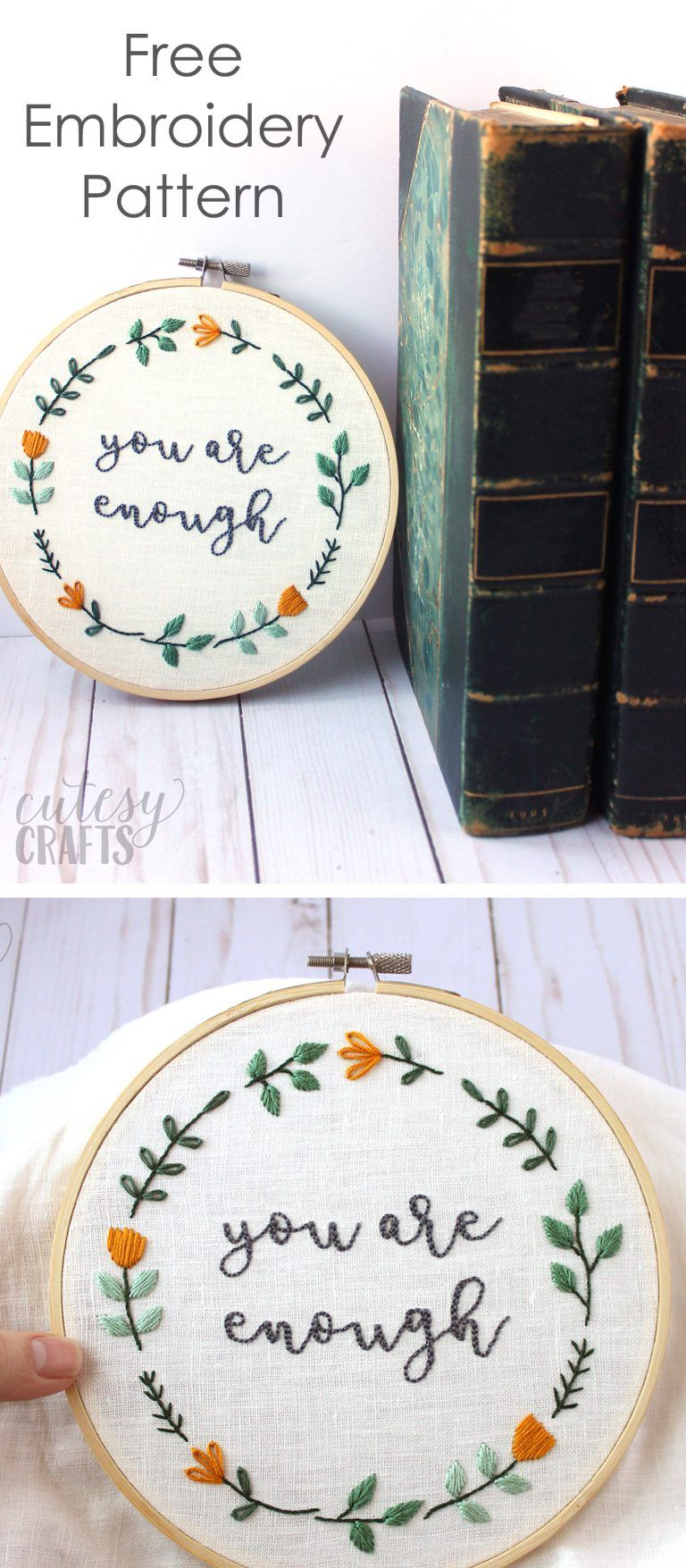 You are enough free hand embroidery pattern embroidery