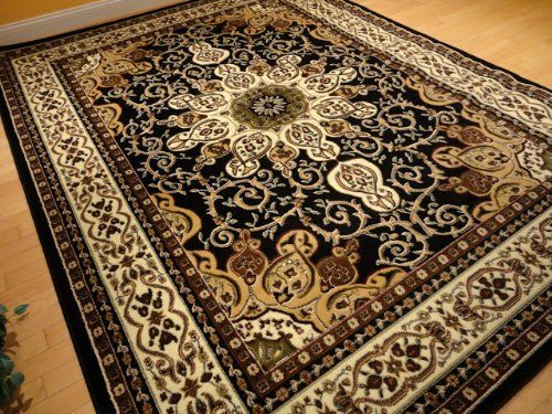 Large 8x11 Persian Style Rug Oriental Rugs Black Area Rug