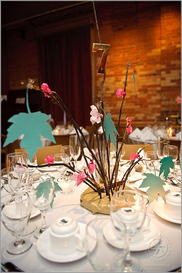 Non Floral Wedding Centerpieces Paper Leaves Wedding And Paper