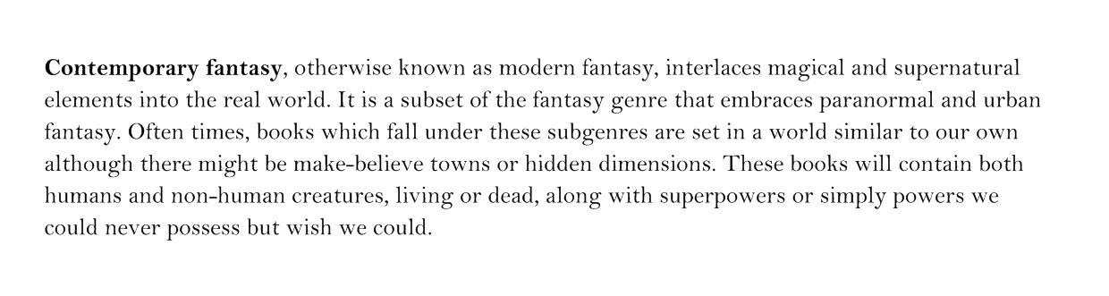 Do you agree with our definition of contemporary fantasy?
