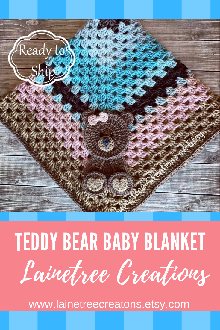 Teddy Bear Baby Blanket #crochetbear