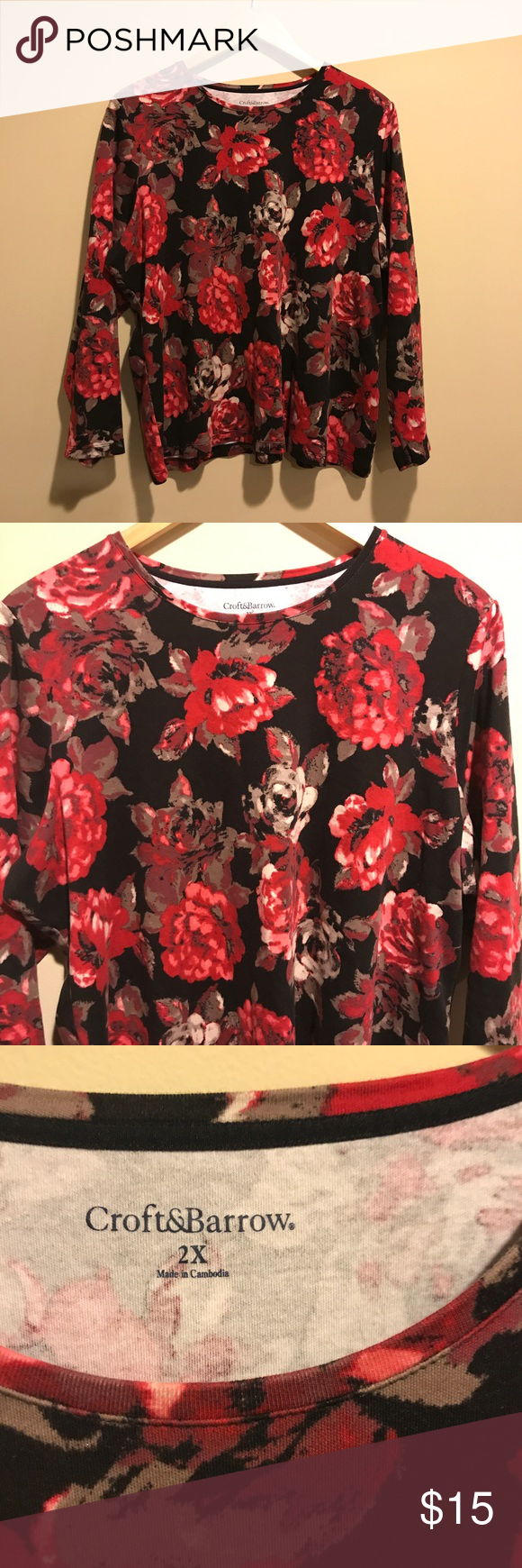 Croft & Barrow Floral Long Sleeve Top Size 2X - A5 Gently used. Plus Size. Length is approximately 24 inches and width is approximately 23 inches croft & barrow Tops Tees - Long Sleeve