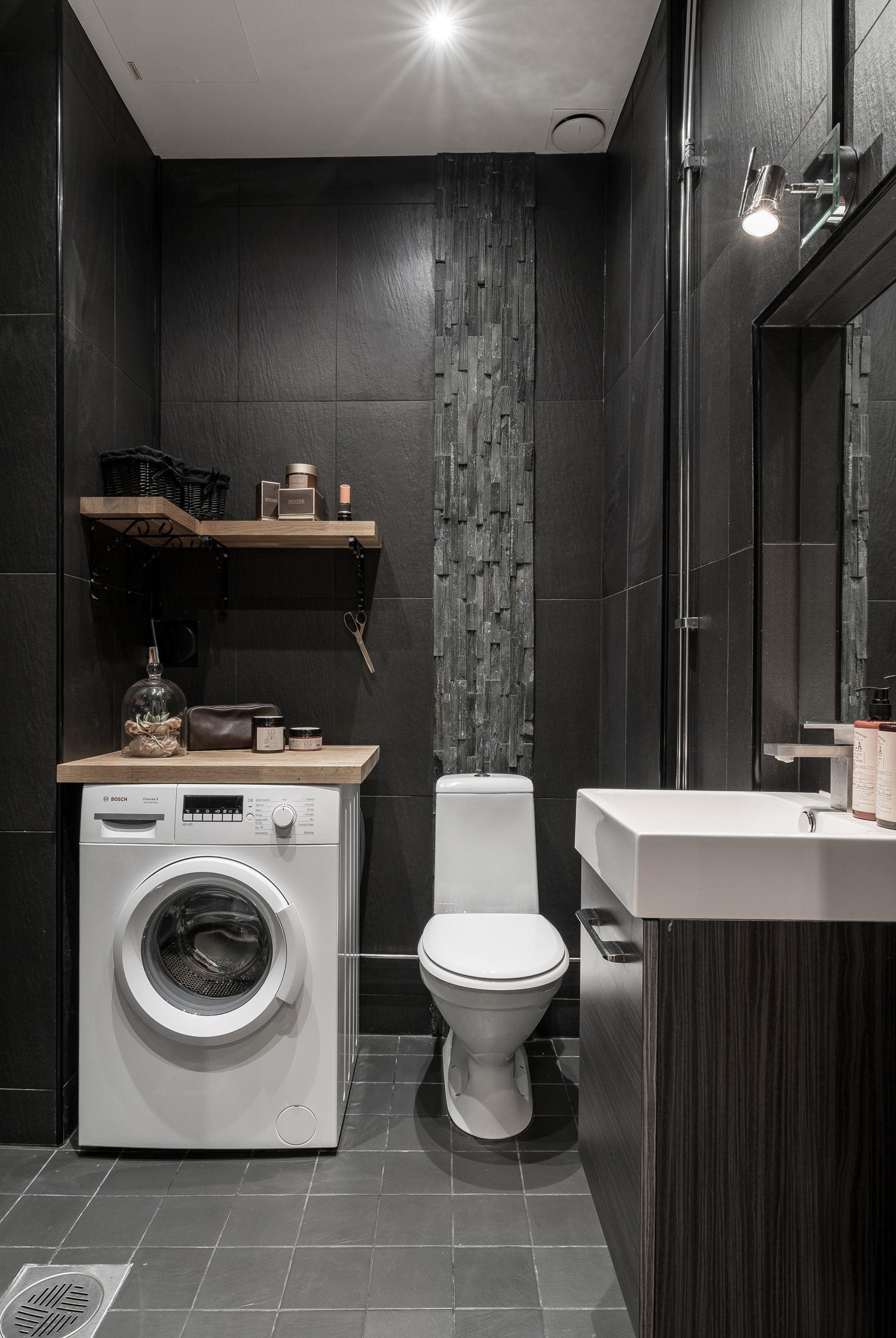 Black bathroom  For the Home  Pinterest  Salle de bain grise Salle and Salle de Bain