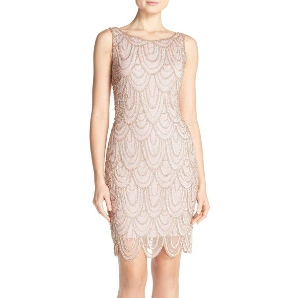Pisarro Nights Embellished Mesh Sheath Dress (Regular & Petite) ($104) ❤ liked on Polyvore featuring dresses