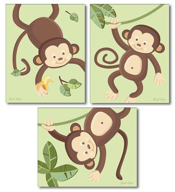 Impresiones de mono para niños arte de pared de por smileywalls ...