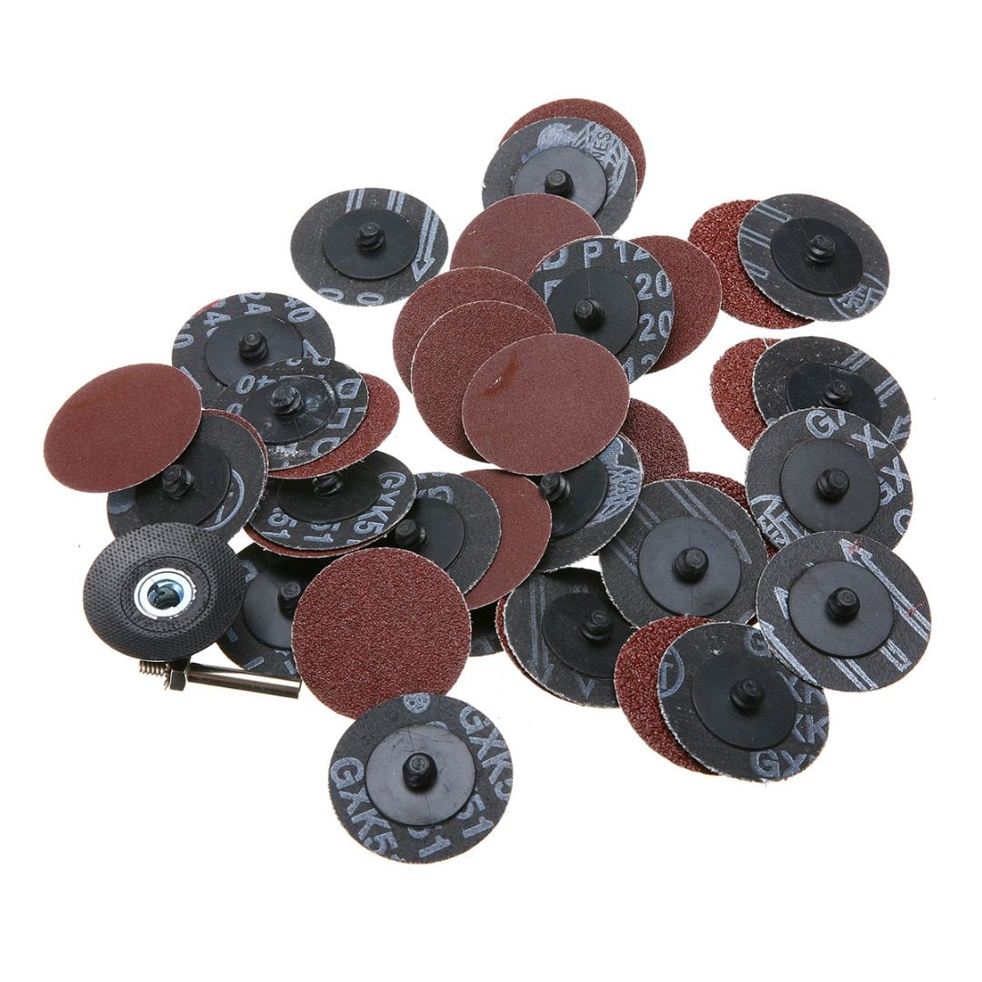 40pcs 2 Sanding Disc Pad 40 80 120 240 Grits Sander Pad Sanding Paper With Mandrel Lock For Abrasive Tools 40pcs Sanding Tools For Sale Sanding Abrasive