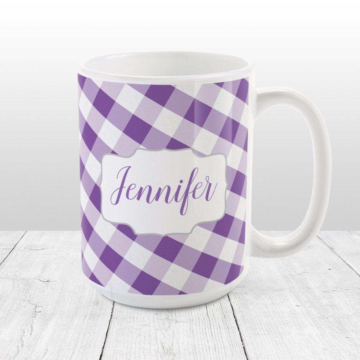 Personalized Purple Gingham Mug Mugs, Custom mugs, Mug