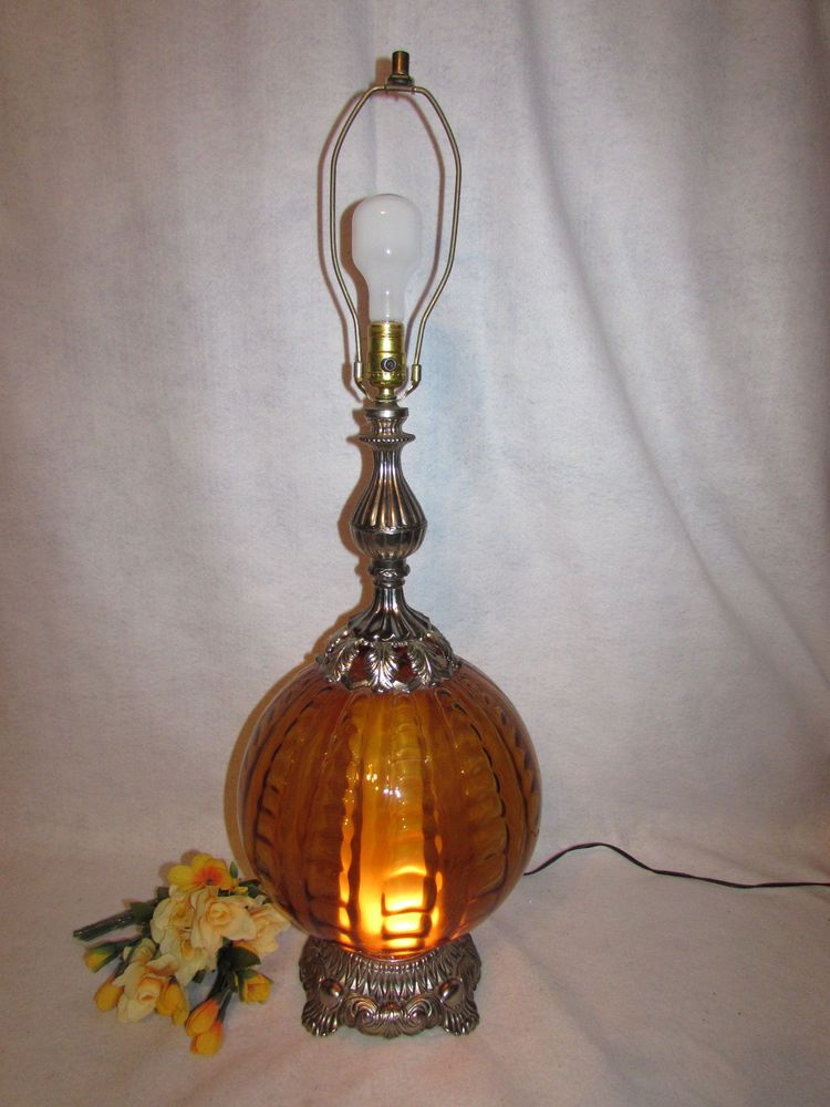 Ef Ef Lg Hollywood Regency Amber Glass Globe Table Lamp W Brass 34